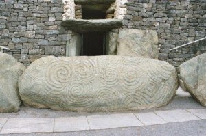 Stone in front of Newgrange, Ireland. Photo provided by Wikimedia.