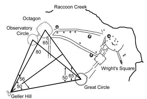 Isosceles triangles formed at Newark, Ohio Earthworks. Positions as located by satellite image. Drawing by B.L. Freeborn.