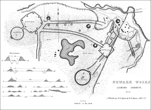 Famous drawing of Earthworks in Newark, Ohio by Squier, Davis and Whittlesey, 1837-1847.
